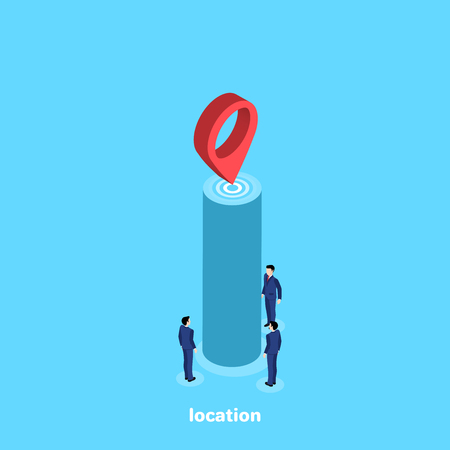people in business suits go  to the specified place, an isometric image