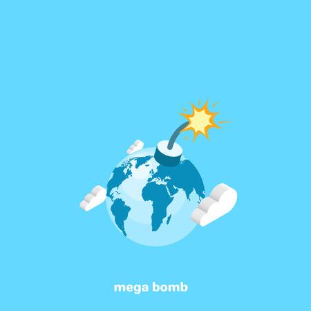 The globe is like one huge mega bomb, an isometric image Illustration