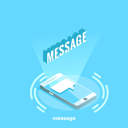 electronic messages and letters on the smartphone, isometric image