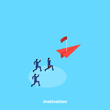 men in business suits run after a red paper plane on which there is a flag, an isometric image Illustration