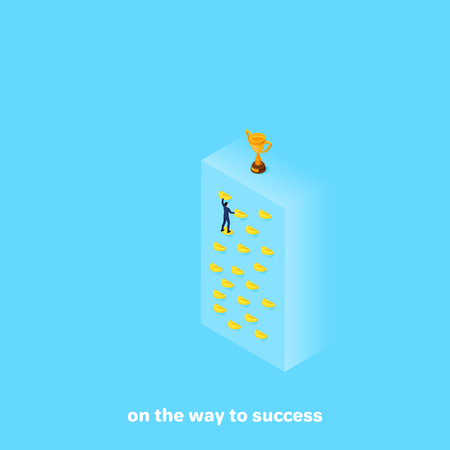a man in a business suit is climbing up the wall to an upside-down cup, an isometric image