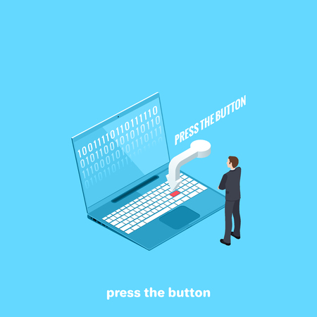 a man in a business suit stands in front of a laptop screen and an arrow pointing at a button, an isometric image Banque d'images - 103946298