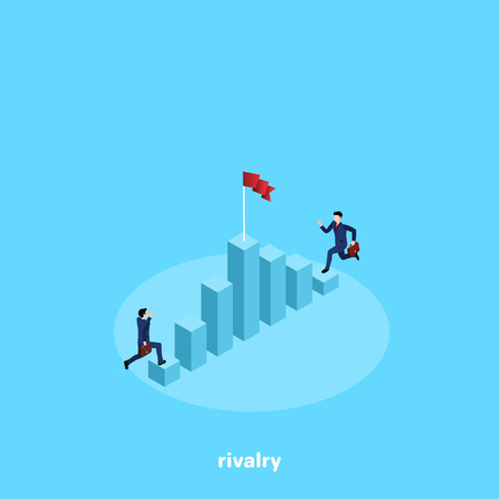 men in business suits run to the flag on the top of the chart, an isometric image