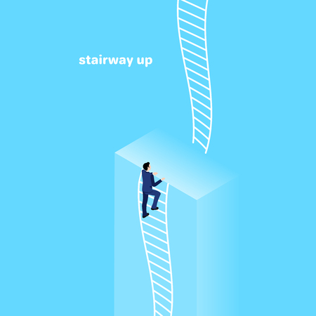 a man in a business suit looks up the rope ladder, isometric image