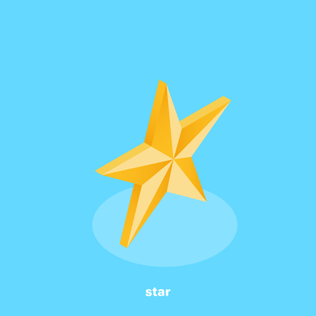 gold star icon on a blue background, isometric image
