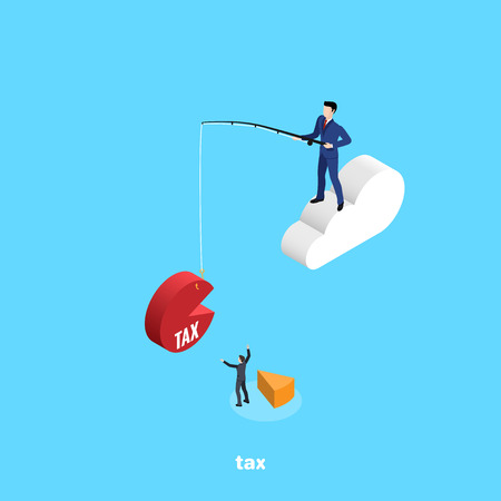 cloud over a man in a business suit and taking tax, isometric image
