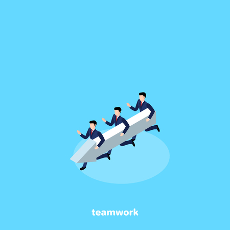 men in business suits run like one team with an arrow, an isometric image