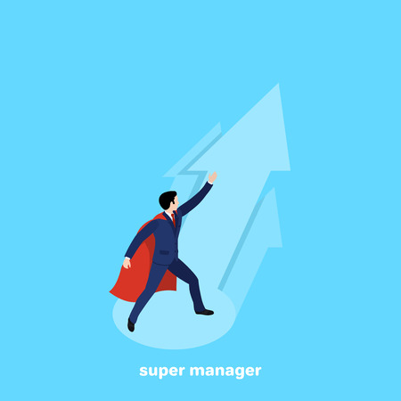 the man in the business suit and the cloak of the superhero stands against the background of the aspiring arrows, an isometric image