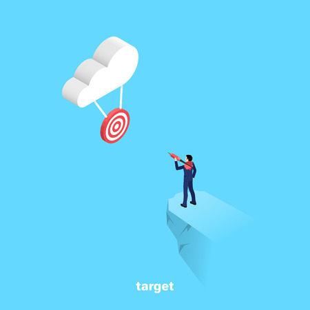 a man with a dart is going to make a sighting throw on the target hanging on the cloud, an isometric image Vectores
