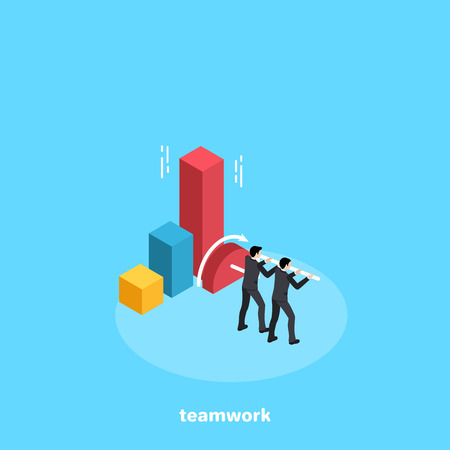 Two men in business suits work in a team to increase the chart, an isometric image