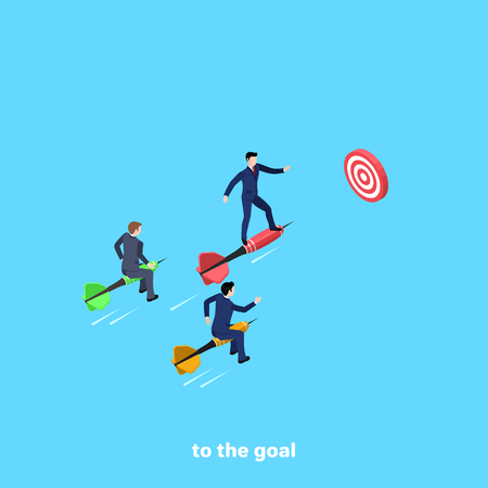 Men in business suits on darts fly to the goal, isometric image