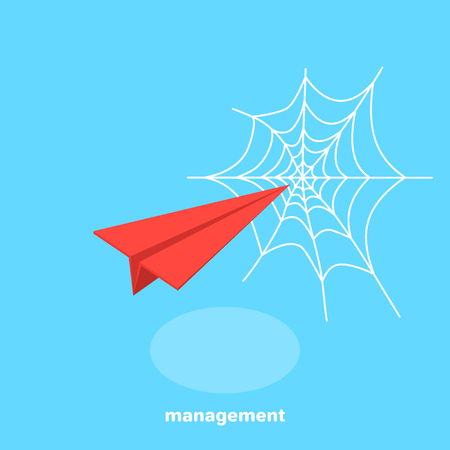 red paper airplane flying in a web, isometric image Ilustrace