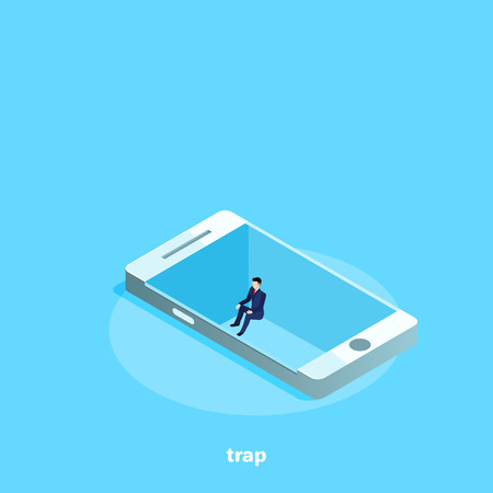 a man in a business suit sits in a pit on a smartphone screen as in a trap, an isometric image