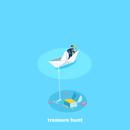 a man in a business suit with a magnifying glass stands on a paper boat, searching for a treasure or a great fortune, an isometric image Иллюстрация