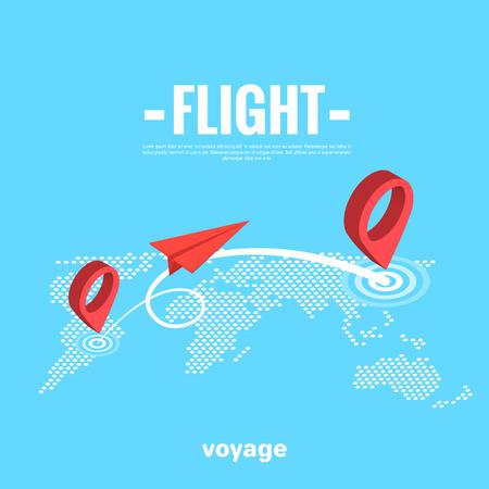 un avion en papier survole une carte de la terre, une image isomérique