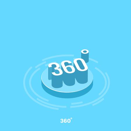 flecha curvada en un círculo de 360 grados, imagen isométrica Ilustración de vector