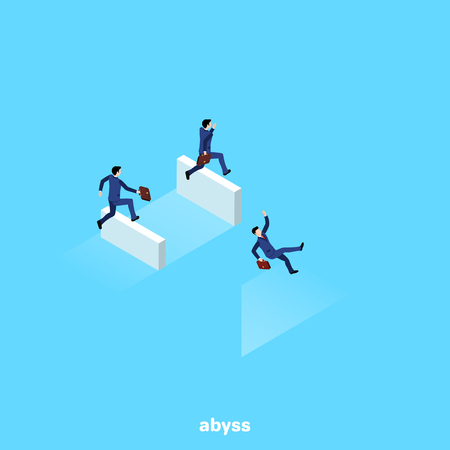 a man in a business suit jumping over a curb falls into an abyss, an isometric image