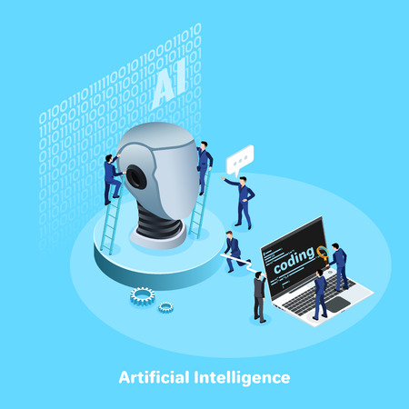 men in business suits develop and implement artificial intelligence using a laptop, an isometric image