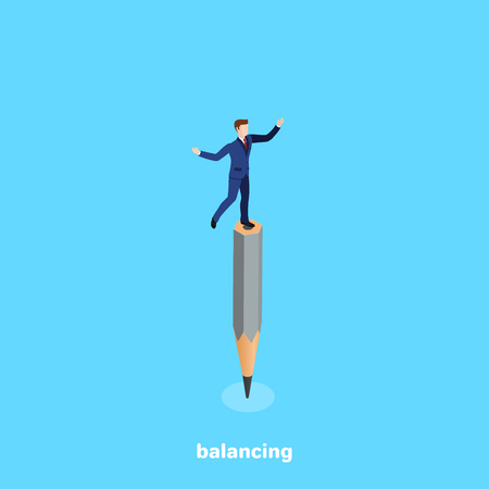 a man in a business suit balances on a pencil, an isometric image