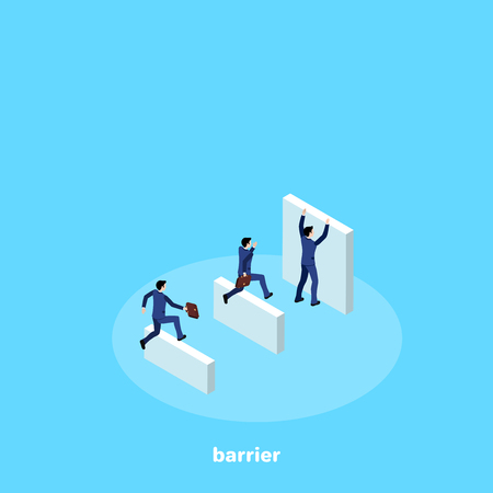 Men in business suits overcome the road with obstacles, isometric image Ilustração