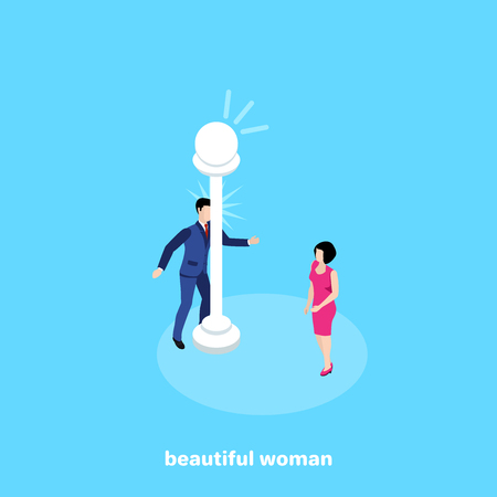 the man in a business suit hit his forehead on the lamp post after looking at a beautiful woman, an isometric image