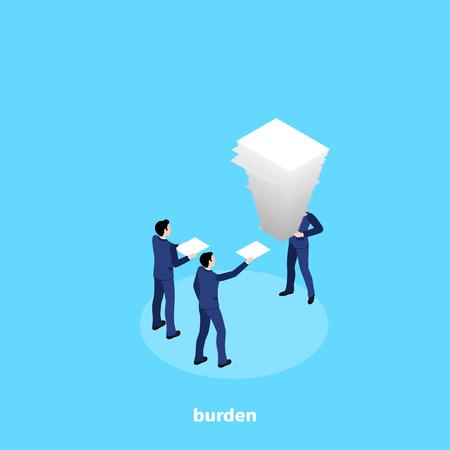 un hombre en un traje de negocios sostiene una gran pila de papel en sus manos, una imagen isométrica Ilustración de vector