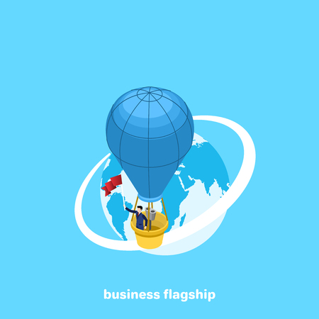 a man in a business suit is flying in a balloon around the globe, an isometric image Banque d'images - 104935011
