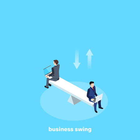 Men in business suits with laptops sit on scales, isometric image