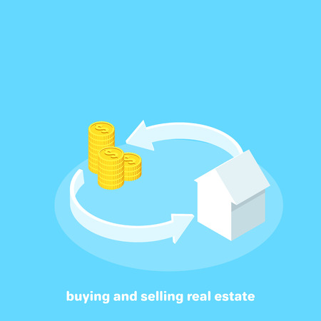 money and house between the arrows on a blue background, isometric image Illustration