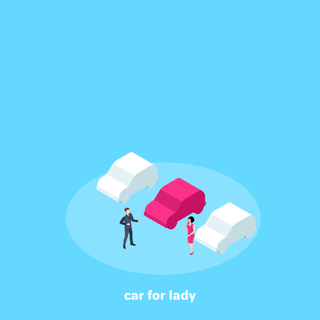 a car salesman and a woman picking up a car, an isometric image Illustration