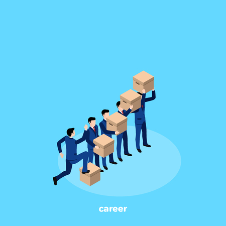 man in a business suit with the boxes up, isometric image Illustration