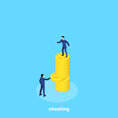 a man in a business suit is standing on a pile of coins and another man is pulling out one coin from the same pile, an isometric image
