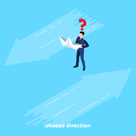 a man in a business suit with a paper boat and two directions of flow, an isometric image