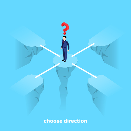 a man in a business suit stands on a rock, isometric image Vector Illustratie