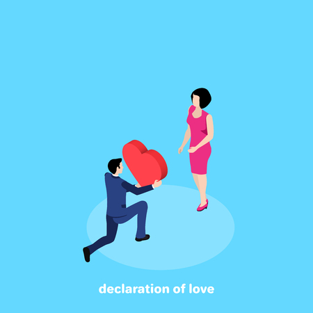 man in business suit gives heart to woman in pink dress, isometric image