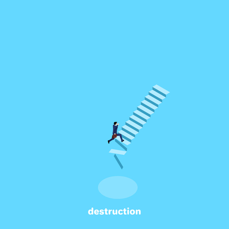 a man in a business suit runs up the crumbling ladder, an isometric image