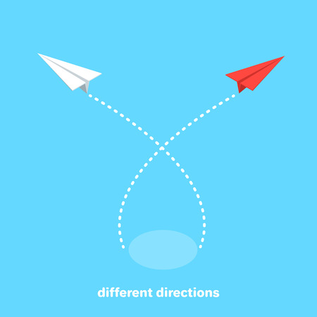 red paper airplane flies in the opposite direction from a group of other airplanes, isometric image Stok Fotoğraf - 114897246