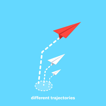 Paper airplanes on a blue background, business competition, isometric image Ilustrace