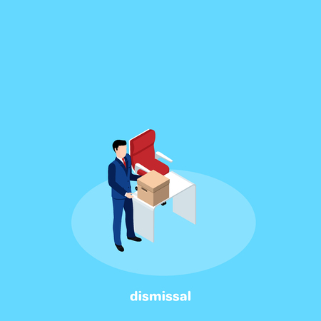 dismissed from work a man in a business suit picks up a box from his workplace, an isometric image
