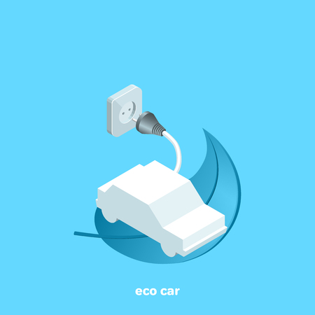 electric car on a plant leaf and an electrical outlet on a blue background, isometric image