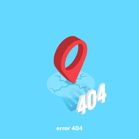 a location icon with a crack under it and a 404 error number, an isometric image
