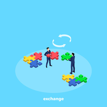 Men in business suits are changing puzzle pieces, isometric image Illustration