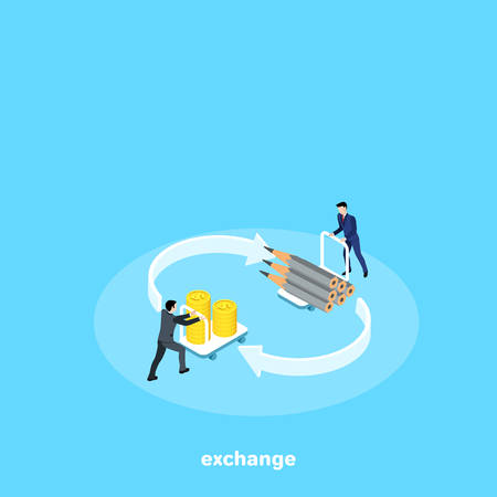 men in business suits are changing goods for money, isometric image Illustration