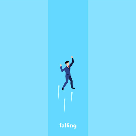 a man in a business suit falls into the abyss, isometric image