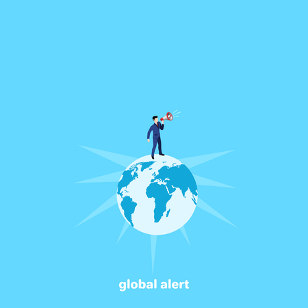 a man in a business suit stands with a loudspeaker on the globe, isometric image