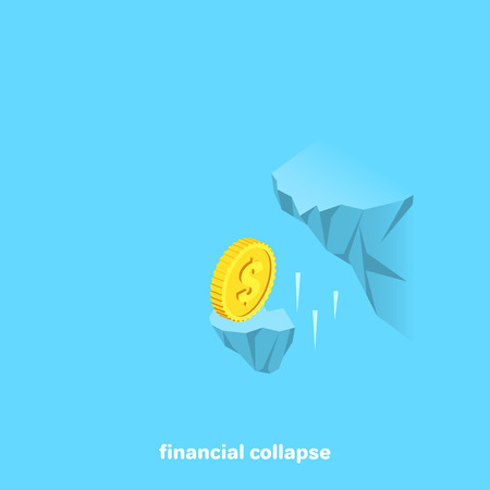 The gold coin falls with a piece of broken rock, an isometric image