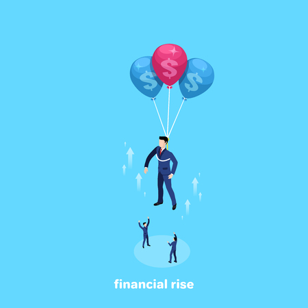man in business suit flies up on balloons, isometric image