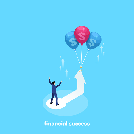 a man in a business suit stands on the arrow which starts to rise up with the help of balloons, an isometric image Иллюстрация