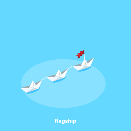 a flotilla of paper ships sails headed by the flagship in the given direction, an isometric image