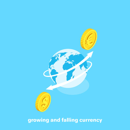 White rising arrow bending around the globe and a euro coin, isometric image 일러스트